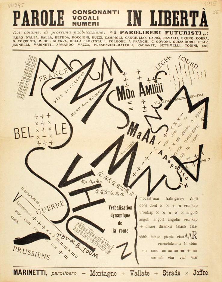 F. T. Marinetti: – Montagne + Vallate + Strade x Joffre, 1915